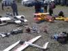 I förgrunden några av Dennis och Monas och Jonas flygplan/helikoptrar.
