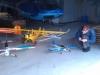 Alla våra modeller fick campa i en enorm hangar.