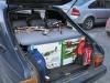 Bilen fullpackad med rc-grejer och fika!